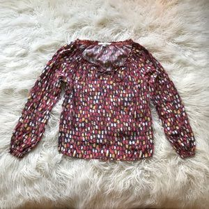 Boden purple red dot long sleeve peasant blouse